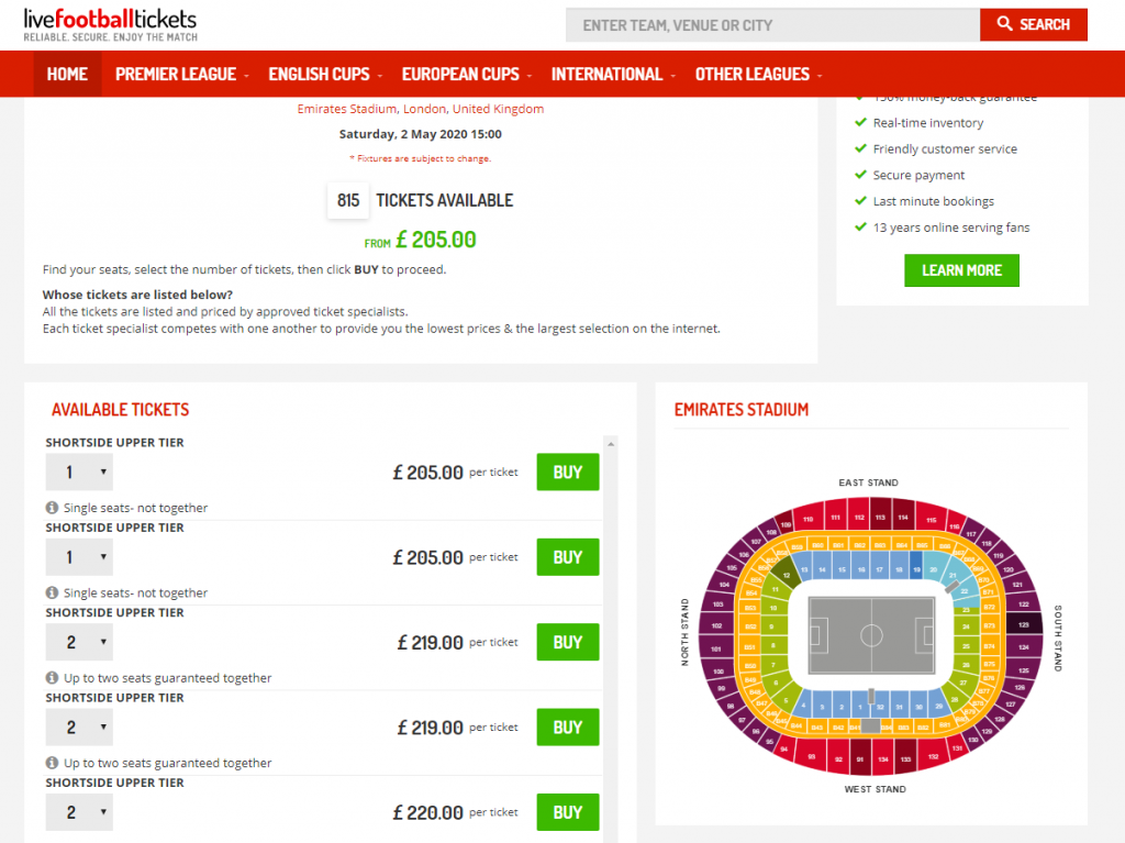 LiveFootball Screenshot Ticket page